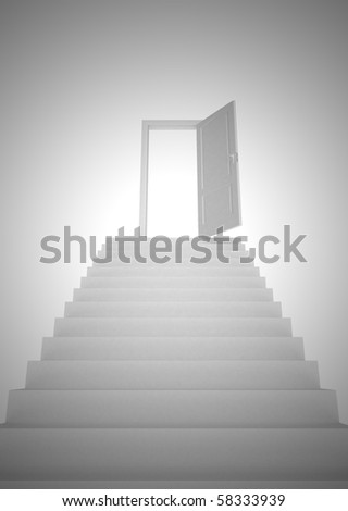 White stairs and door open - stock photo