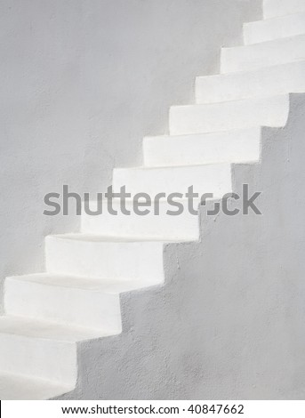 White stairs, Santorini, Greece, Europe - stock photo