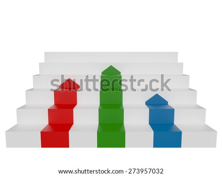 White stairs with red blue and green arrow. 3d illustration - stock photo