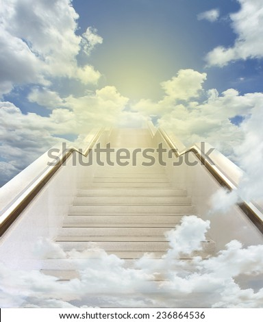 white stairway to heaven background  - stock photo