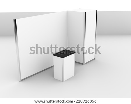 white stand or booth in a trade show. 3d render