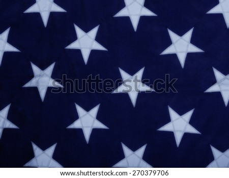 White stars on a blue background.  Close up of the old U.S. Navy Jack - stock photo