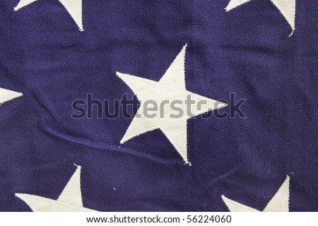 White stars on blue, detail of American flag
