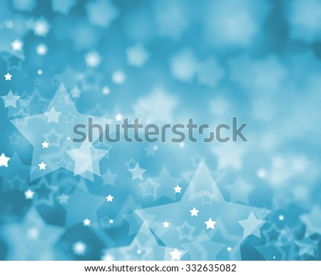 white stars on light blue Christmas background, with blurred bokeh layers of falling stars in random pattern, shining glittering stars - stock photo
