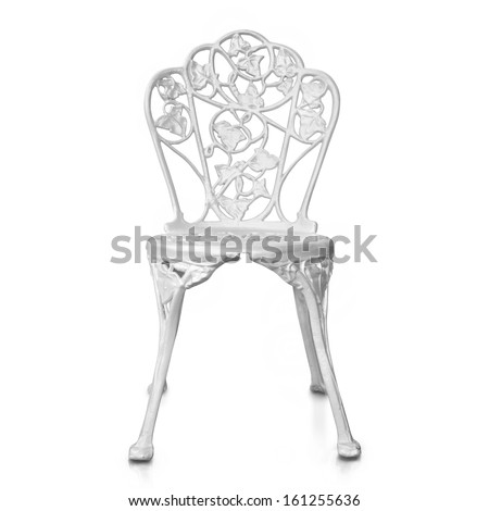 White steel chair in classic style on white background.