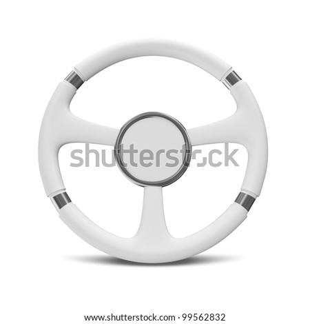 White Steering Wheel on white background - stock photo
