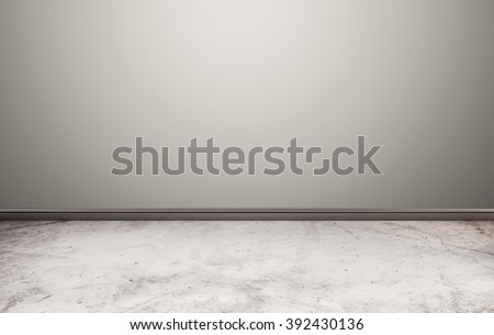 White stone floor with gray wall - stock photo