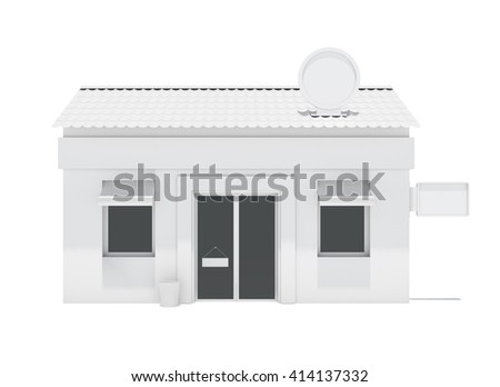 White store building with labels. Isolated on white. 3D rendering - stock photo