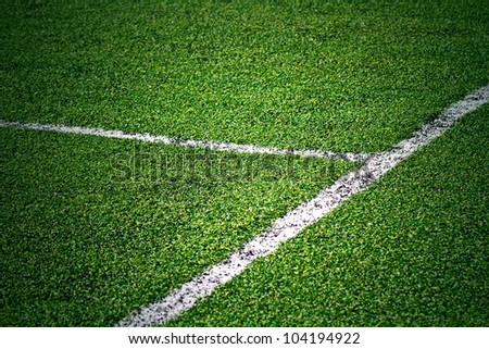 White stripe on the green grass field - stock photo