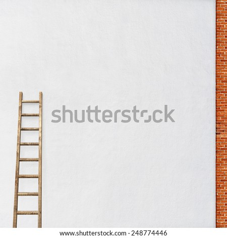 white stucco wall, red brick frame with a wooden ladder background - stock photo