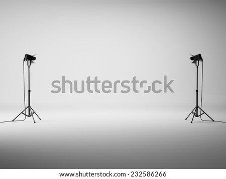 White studio with lights - stock photo