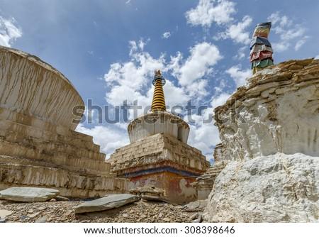 White stupas in Lamayuru or Yuru Gompa (monastery) - Tibet, Kargil District, Leh district, Western Ladakh, Himalayas, Jammu and Kashmir, Northern India - stock photo