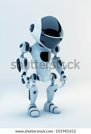 White stylish little cyber toy / White stylish little robotic warrior - stock photo