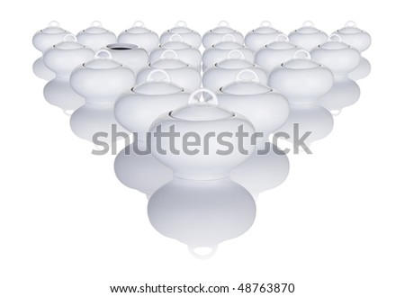 White Sugar Bowls Arranged In A Pattern With One Bowl Missing Its Lid - stock photo