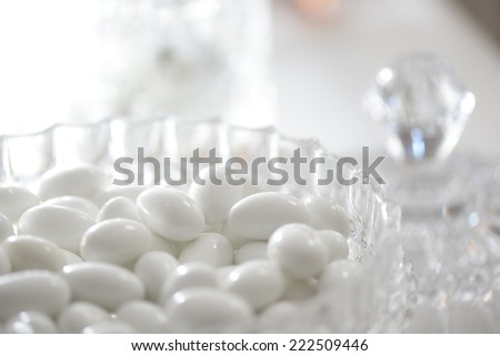 white sugared almonds - stock photo