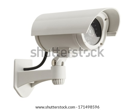 White Surveillance Camera Isolated on White Background.