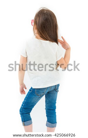 White t-shirt back kid no image. Catalog template. Young trendy llok