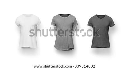 White t-shirt isolated on white background - stock photo