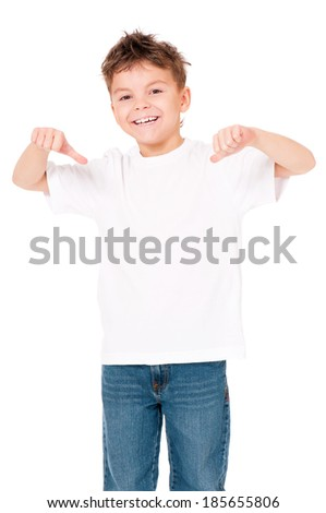 White T-shirt on a cute boy, isolated on white background - stock photo