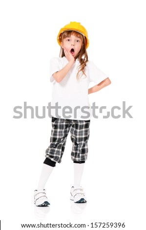 White T-shirt on a little girl in yellow hard hat, isolated on white background - stock photo