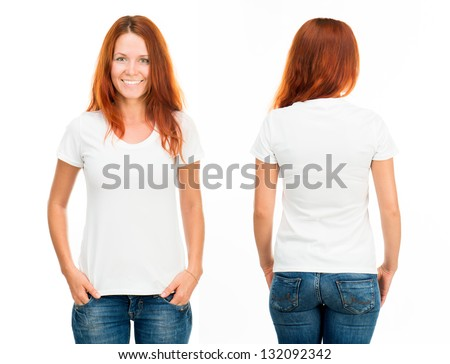 white t-shirt on a smiling girl, front and back - stock photo