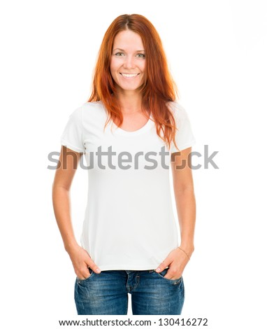 white t-shirt on a smiling girl with perfect body - stock photo