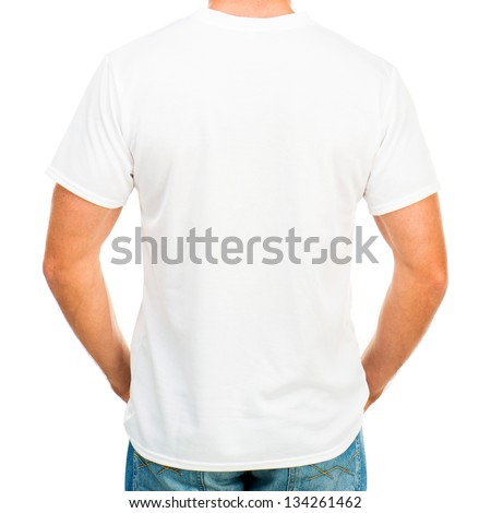 White t-shirt on a young man isolated (back)