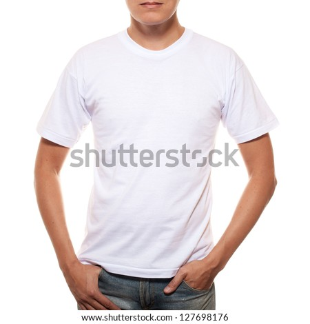 White t-shirt on a young man template isolated on white background