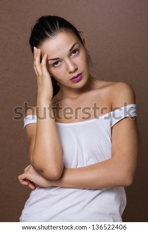 White t-shirt on a young woman - stock photo