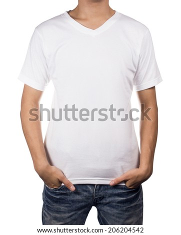 White T-shirt on man body with front side isolated on white background.
