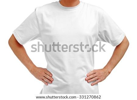 White t-shirt on man isolated on white background - stock photo