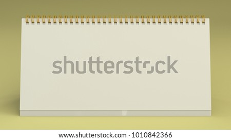 White  table calendar mock-up on yellow surface. Blank spiral calendar template. 3D rendering illustration