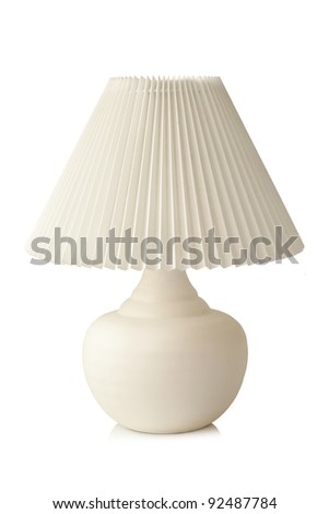 White table lamp on a white background - stock photo