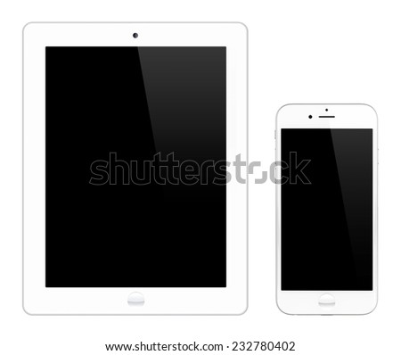 White tablet computer and smartphone isolated on white background - stock photo
