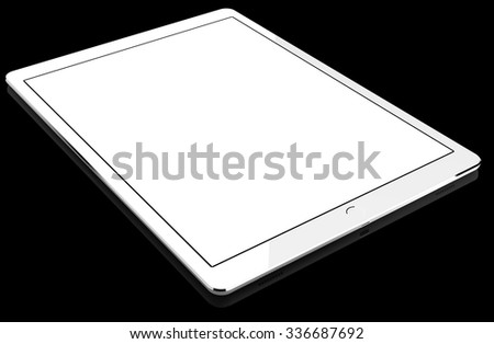 White tablet computer isolated on black background, with blank screen mockup, isolated. Whole render in focus. - stock photo