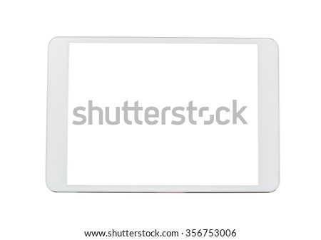 White tablet computer isolated on over white background - stock photo