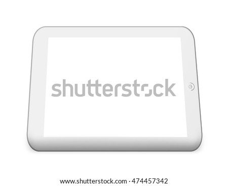 White tablet pc computer with blank screen isolated on white background