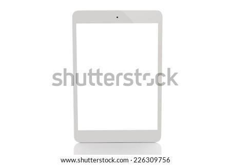 white tablet pc on white background - stock photo