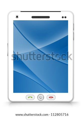 White Tablet PC With Blue and Curve Line in The Screen Isolated on White Background