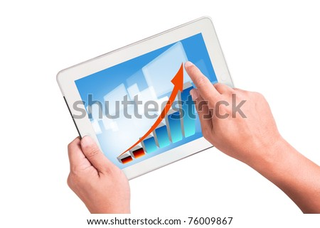 White Tablet PC with business graph - stock photo