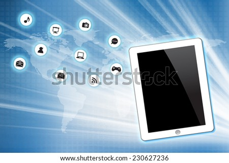 White Tablet pc with icon on technology background