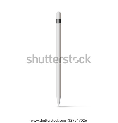 White tablet stylus isolated on white background. Digital input device. Graphic pencil for touch screen. Drawing pen tool for digitizer. Sketching stick style design. Computer electronic artist handle - stock photo