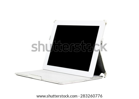 White tablet with cover, Isolated on white. - stock photo