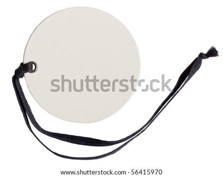 white tag with black string - stock photo