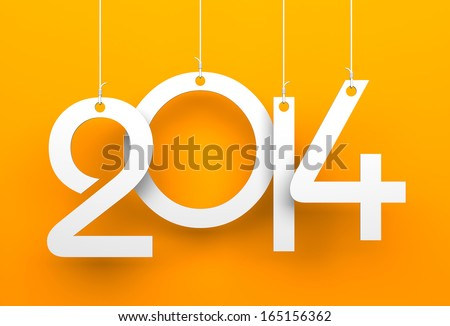 White tags with 2014 on orange background  - stock photo