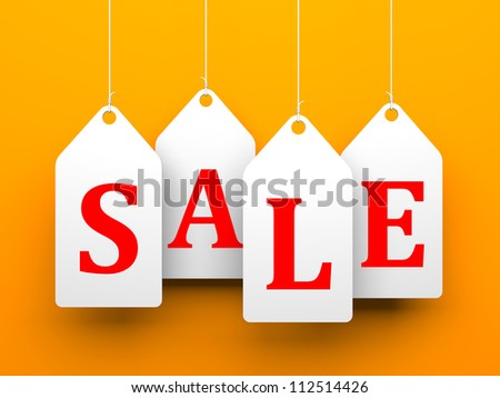 White tags with word sale on orange background - stock photo