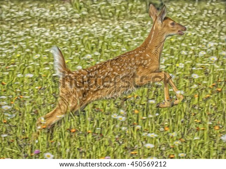 White tailed deer fawn jumping in spring meadow with flowers,digital oil painting