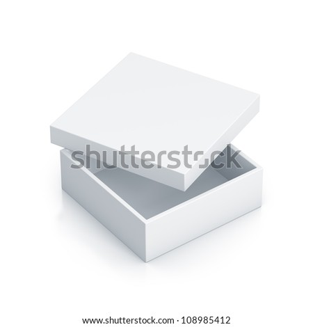 White tall box. High resolution 3D illustration with clipping paths. - stock photo