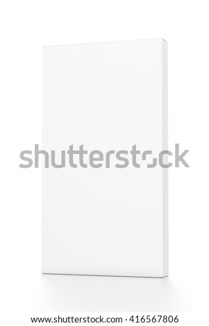 White tall thin vertical rectangle blank box from front far side angle. 3D illustration isolated on white background.