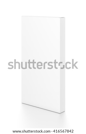 White tall thin vertical rectangle blank box from side angle. 3D illustration isolated on white background.